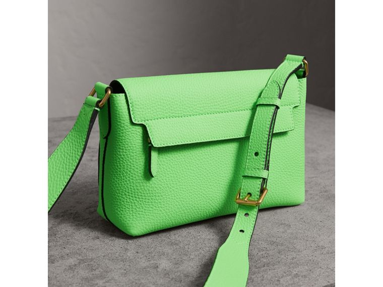 Small Embossed Neon Leather Messenger Bag in Green | Burberry United Kingdom - cell image 4