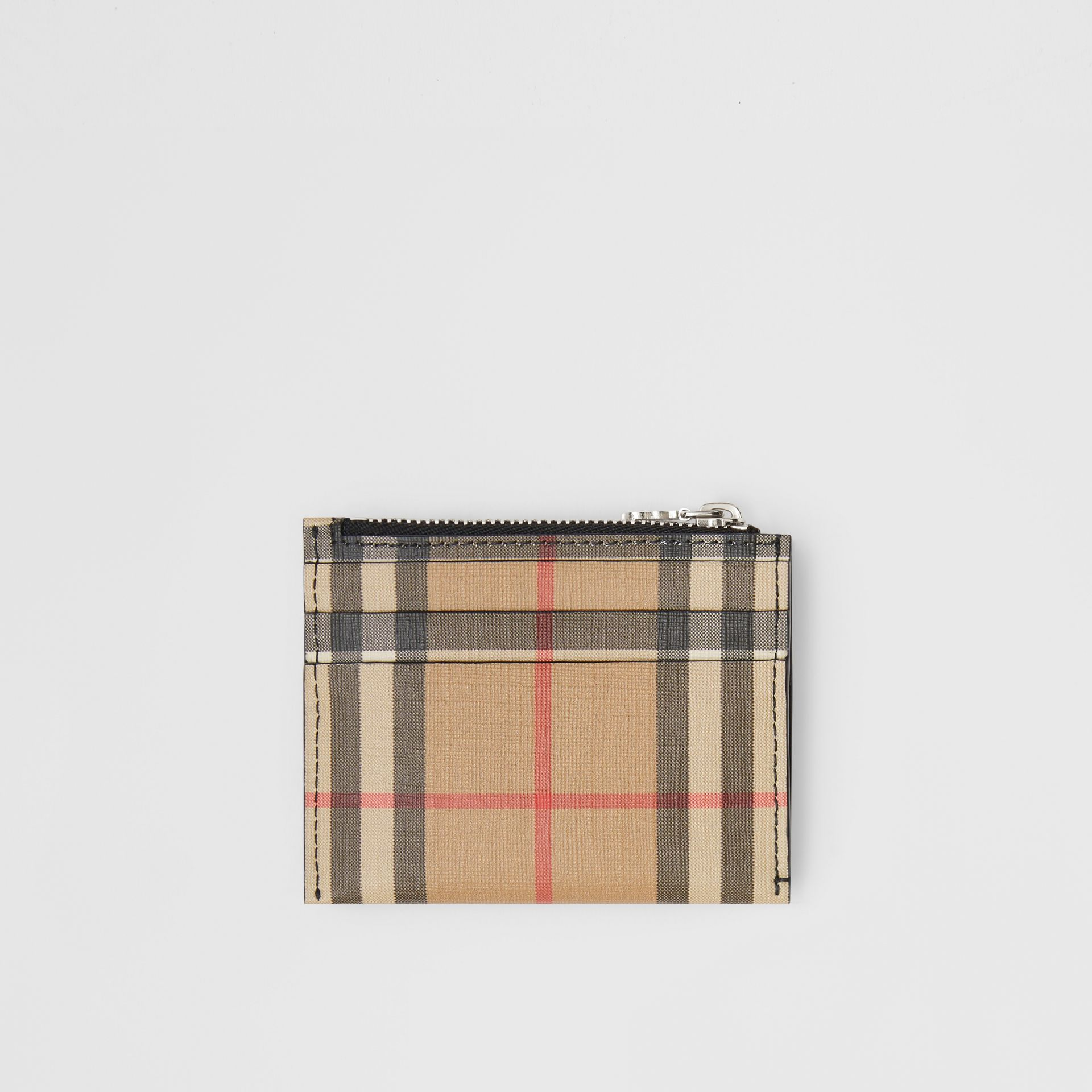 Vintage Check and Leather Zip Card Case in Black - Women | Burberry Australia - gallery image 4