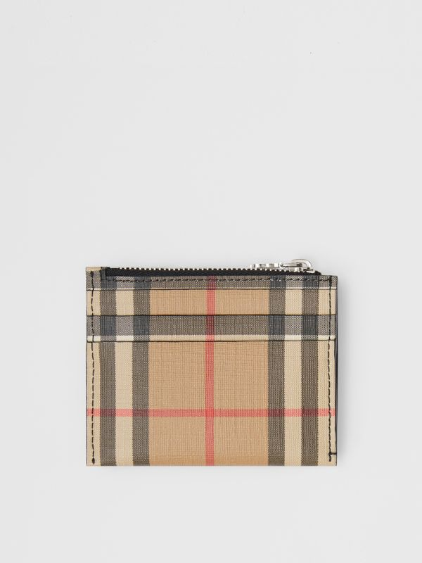 Vintage Check and Leather Zip Card Case in Black - Women | Burberry United States - cell image 3