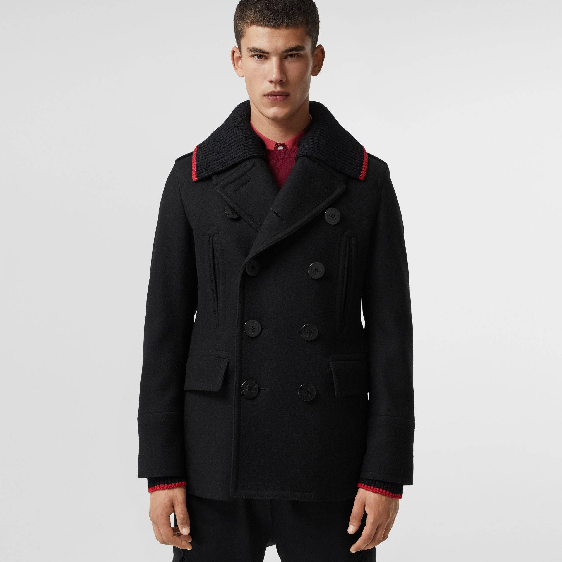 Detachable Knit Collar Wool Cashmere Pea Coat in Black - Men | Burberry - gallery image 4