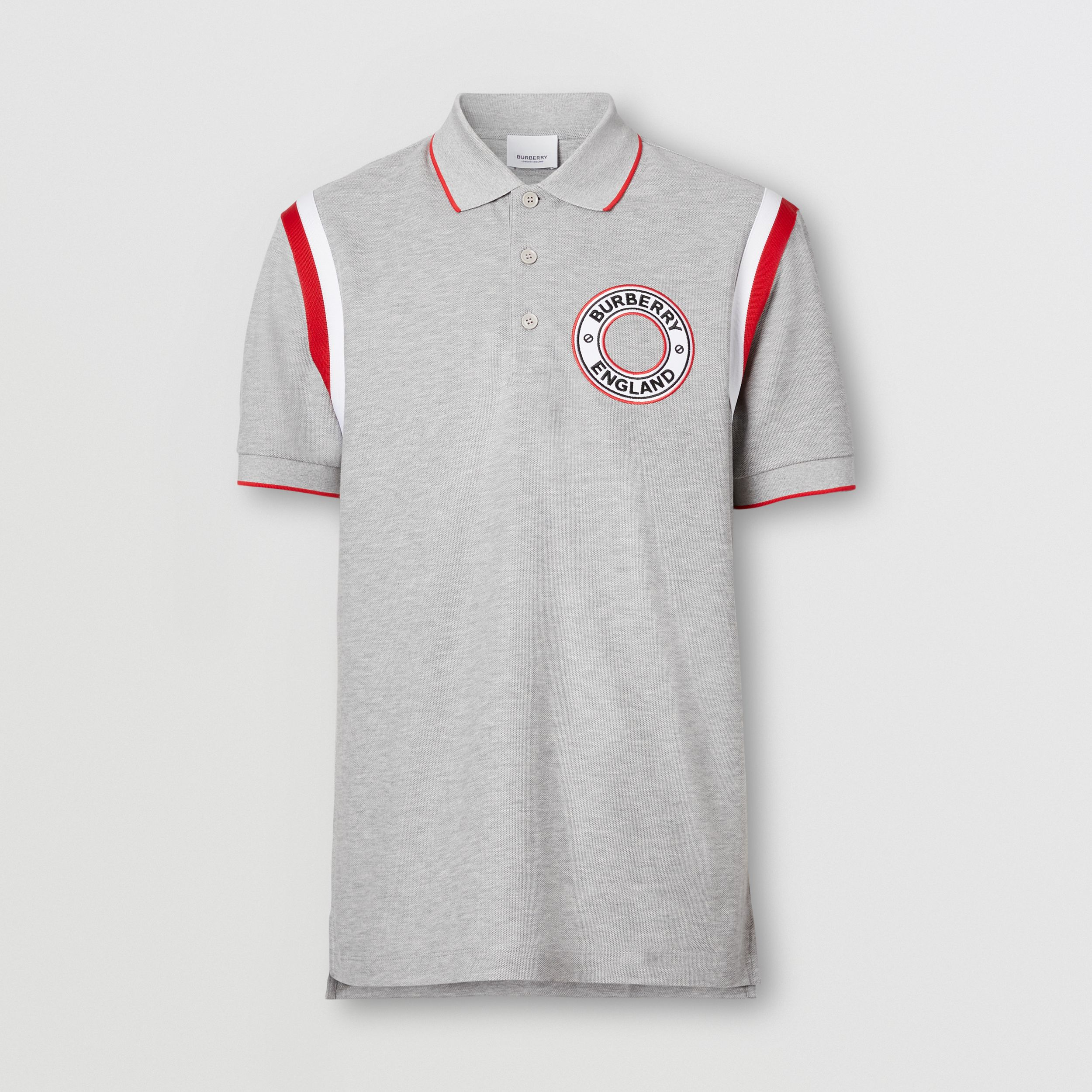 Logo Graphic Appliqué Cotton Piqué Polo Shirt in Pale Grey Melange - Men | Burberry - 4