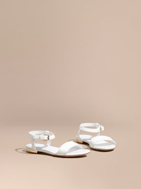 Scallop Detail Leather Sandals in Optic White