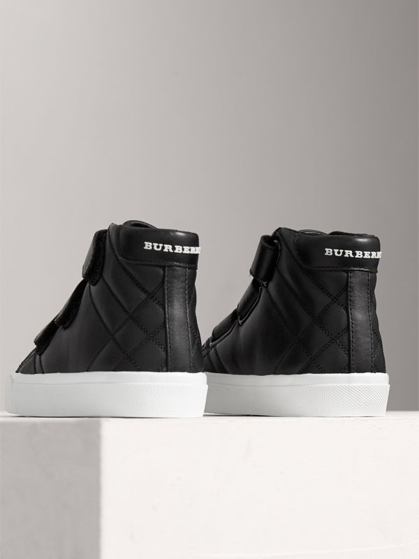 Check-quilted Leather High-top Sneakers in Black - Children | Burberry Singapore - cell image 2