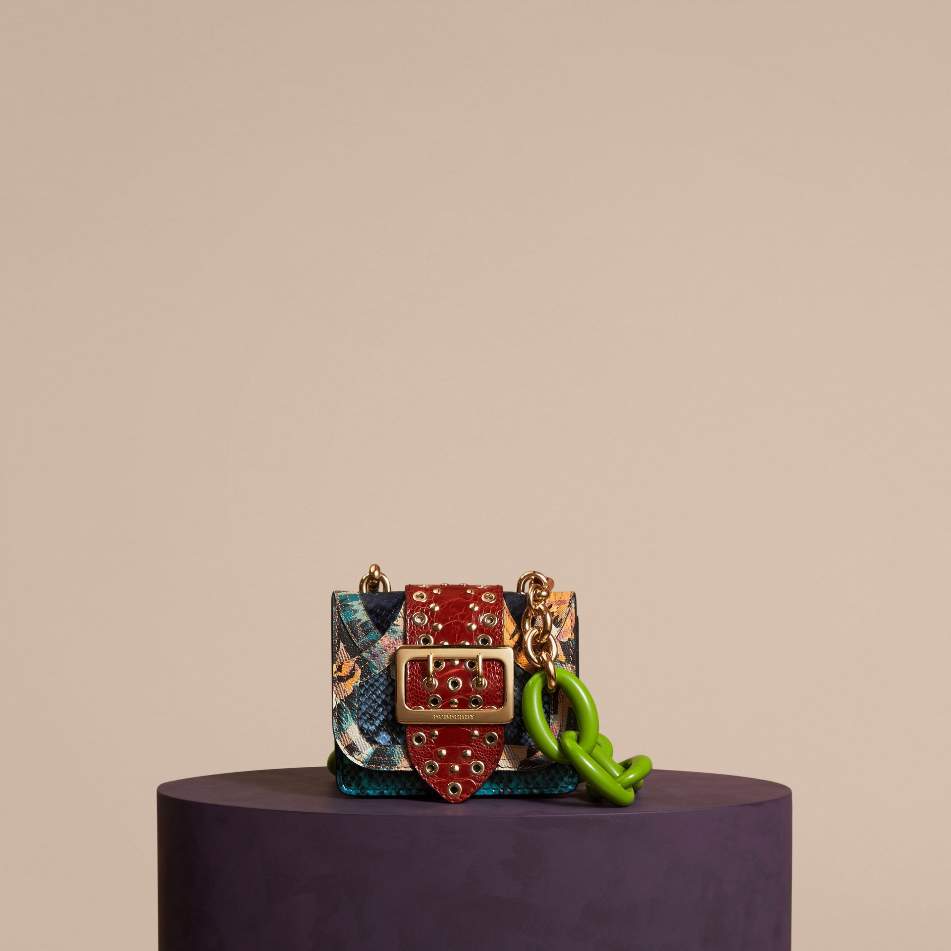 The Mini Square Buckle Bag in Snakeskin, Ostrich and Floral Print - Women | Burberry - gallery image 7