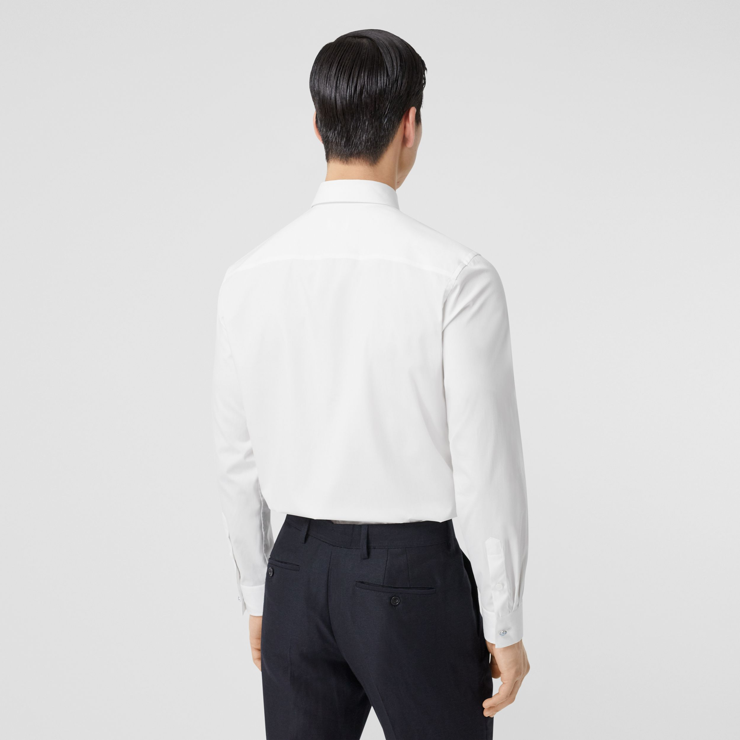 Slim Fit Stretch Cotton Poplin Shirt in White - Men | Burberry - 3