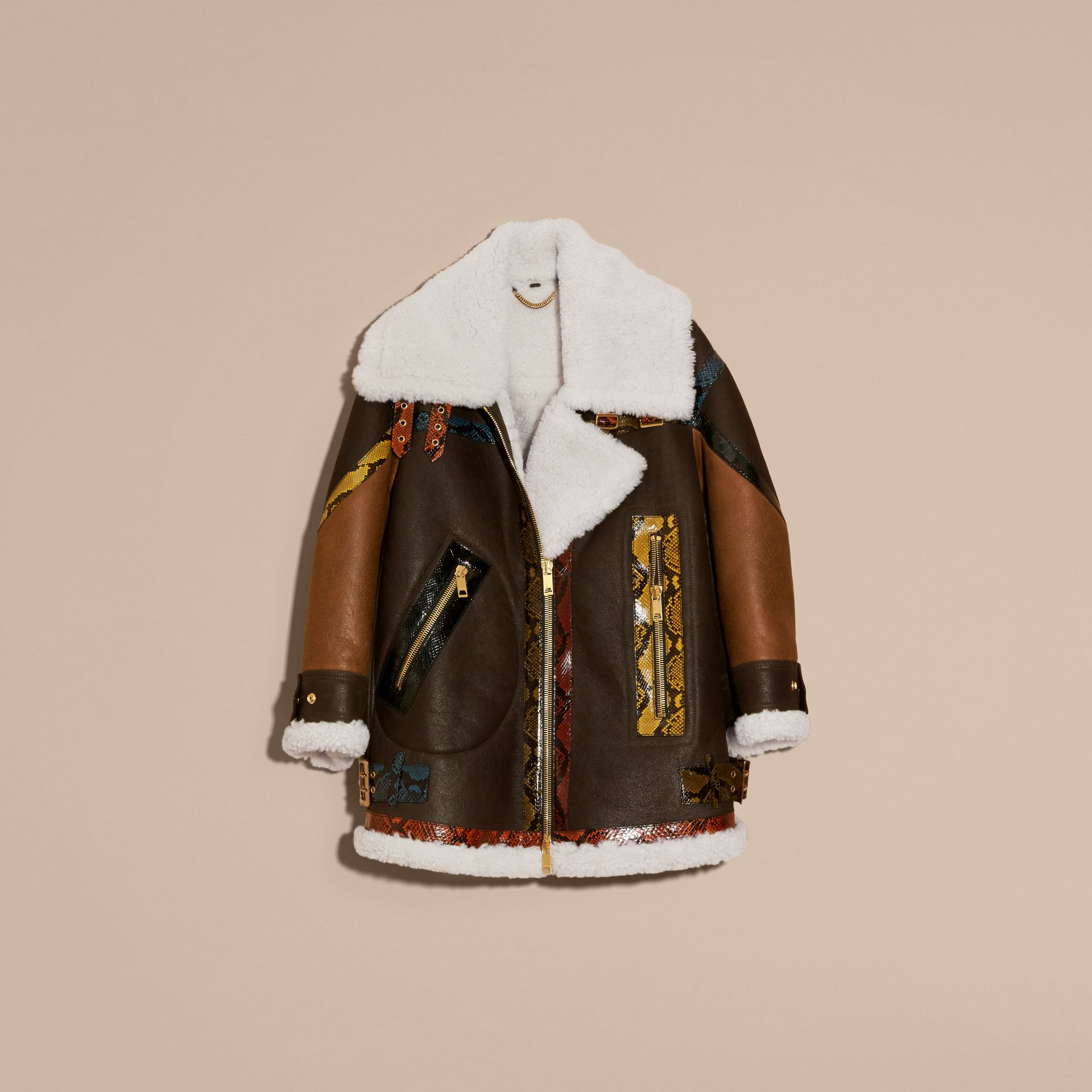 Dark brown/white Shearling Aviator with Snakeskin Panels - gallery image 4