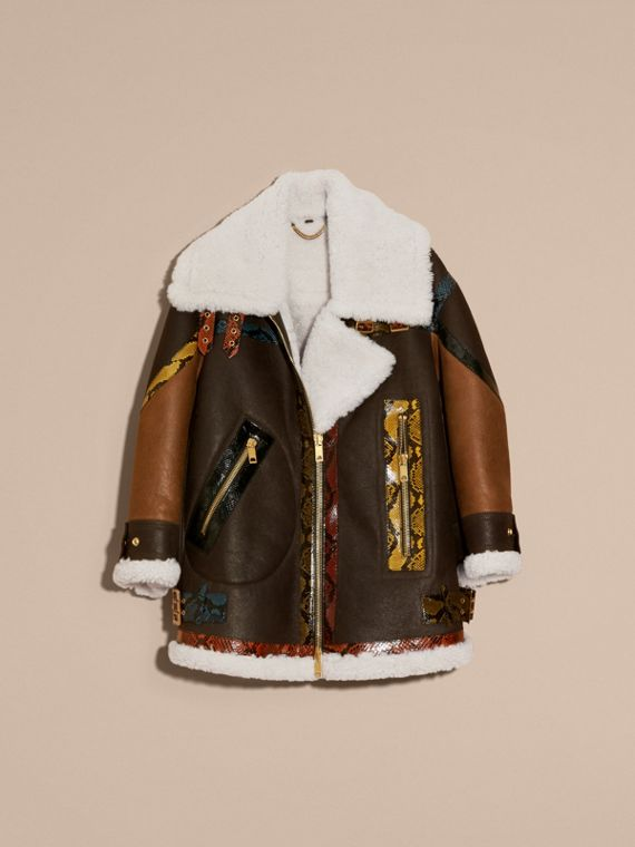 Dark brown/white Shearling Aviator with Snakeskin Panels - cell image 3