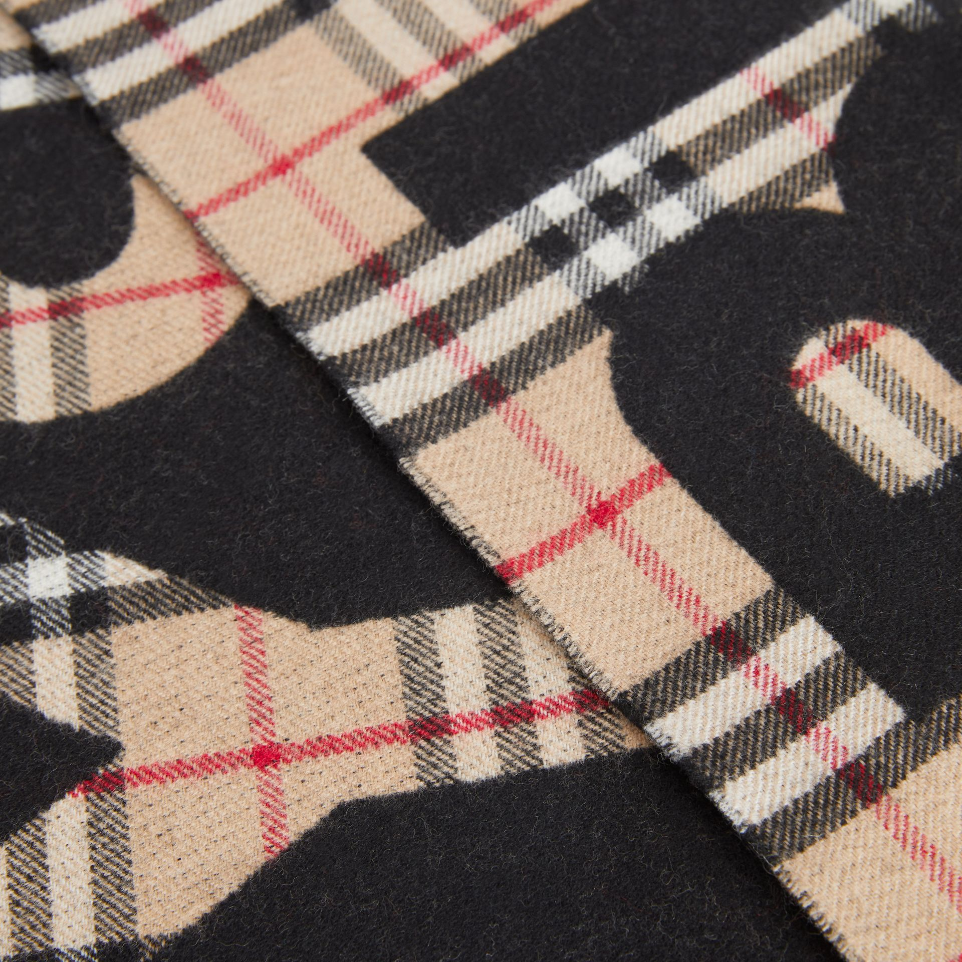 Logo Detail Vintage Check Wool Jacquard Scarf in Camel - Children | Burberry - gallery image 1
