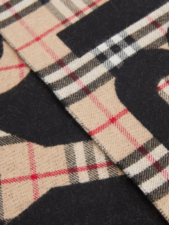Logo Detail Vintage Check Wool Jacquard Scarf in Camel - Children | Burberry Singapore - cell image 1