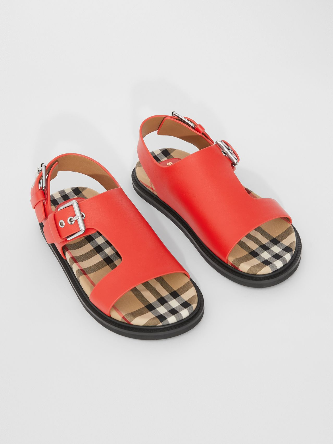 Leather Buckled Sandals in Bright Red