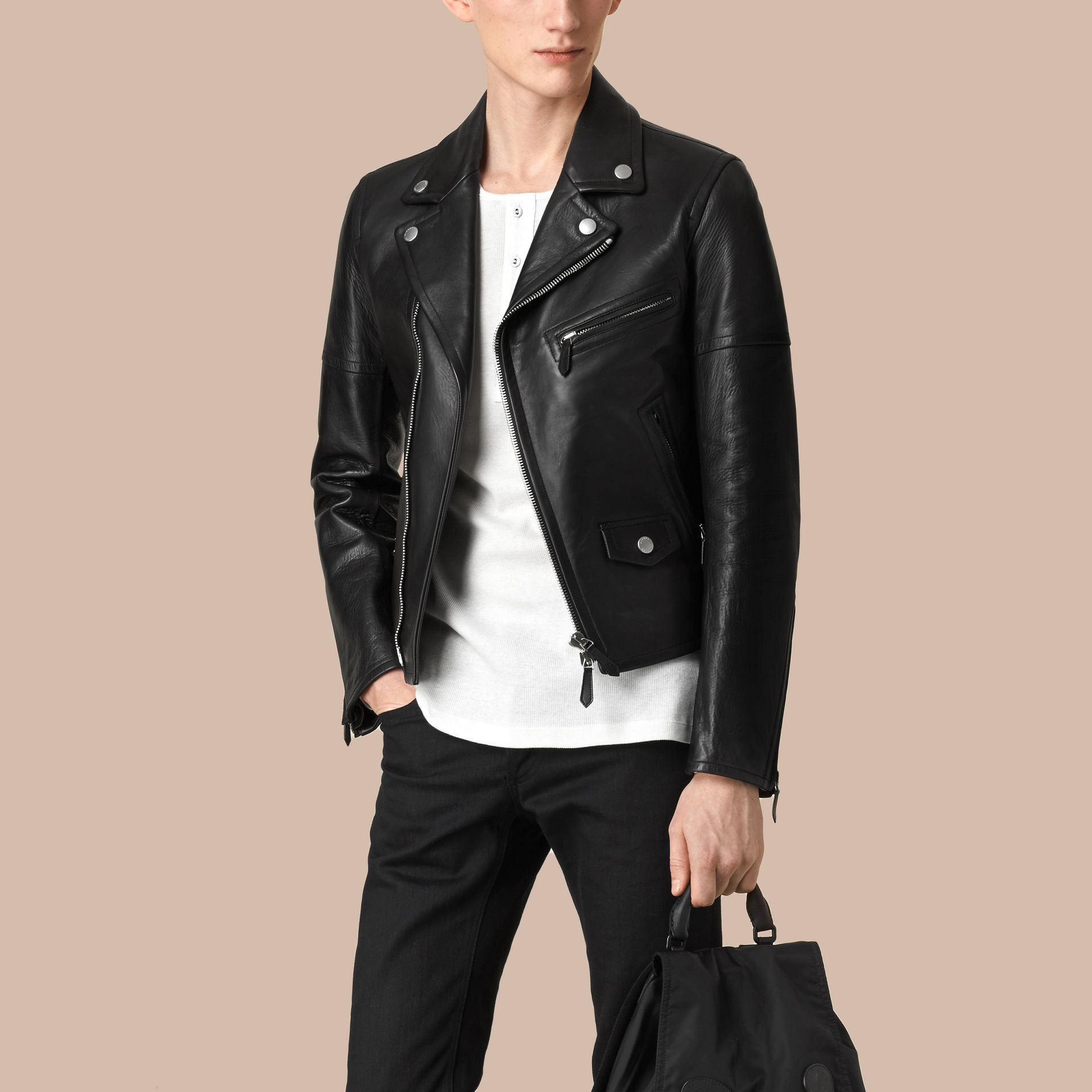 Leather Biker Jacket in Black - Men | Burberry - gallery image 1