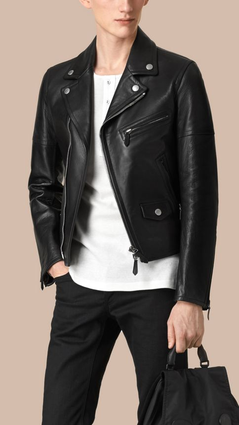Black Leather Biker Jacket - Image 1
