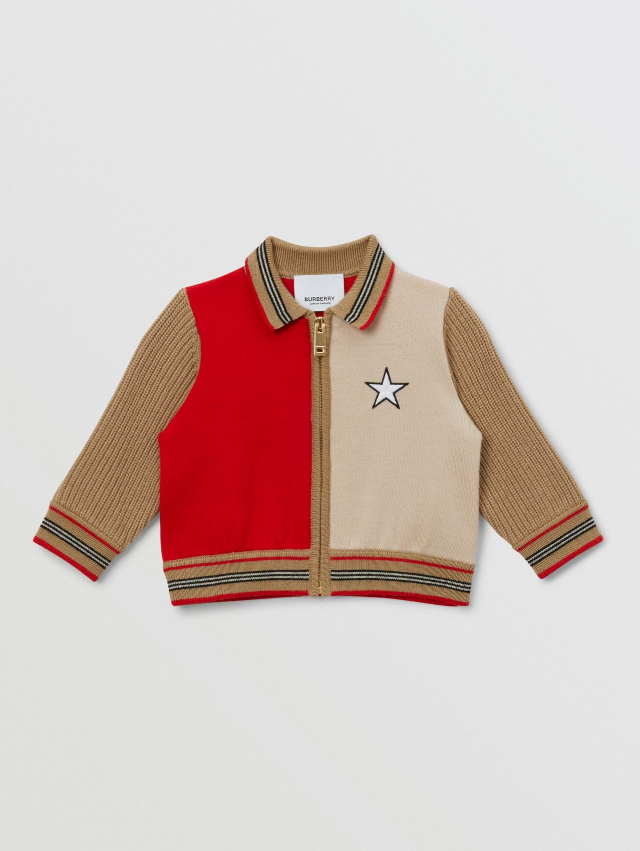 Star Motif Colour Block Wool Blend Jacket