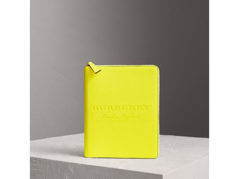 Embossed Grainy Leather Ziparound A5 Notebook Case in Bright Yellow | Burberry - cell image 4