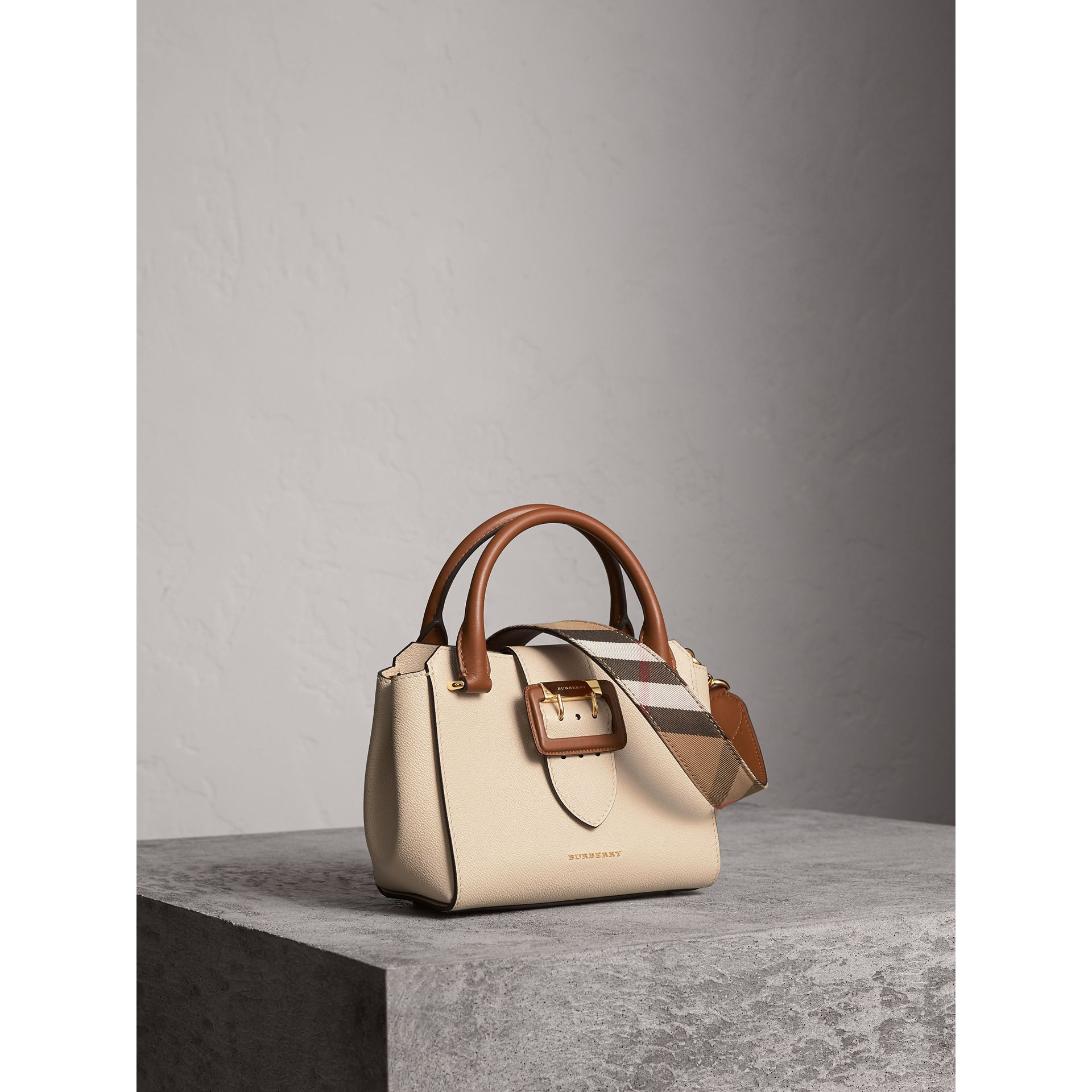 The Small Buckle Tote in Two-tone Leather in Limestone - Women | Burberry Australia - gallery image 8