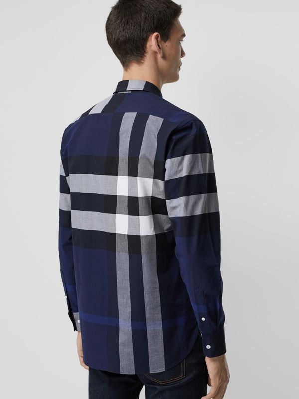 Check Stretch Cotton Shirt in Indigo Blue - Men | Burberry United Kingdom - cell image 2