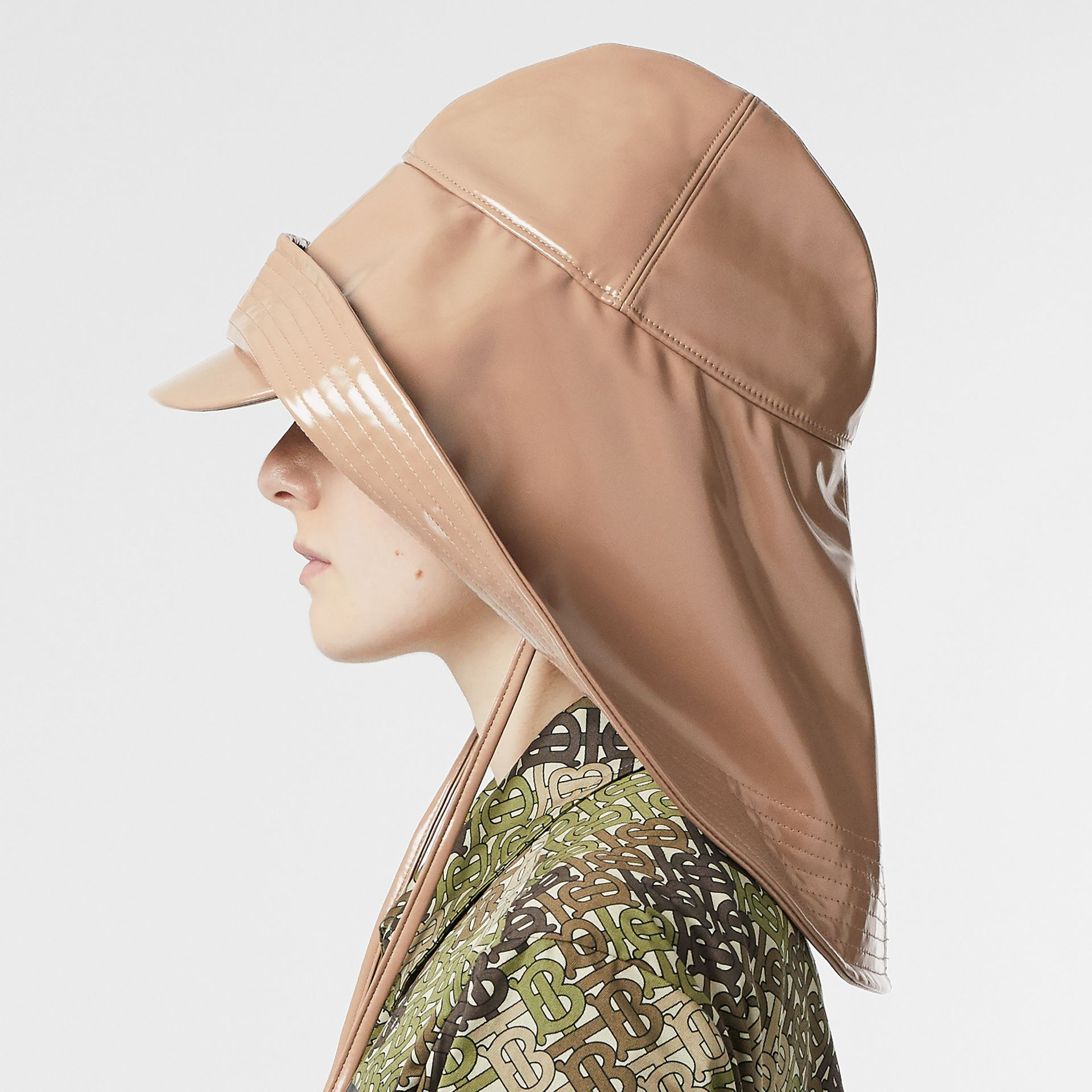 Rubberised Rain Hat in Toffee | Burberry - gallery image 2
