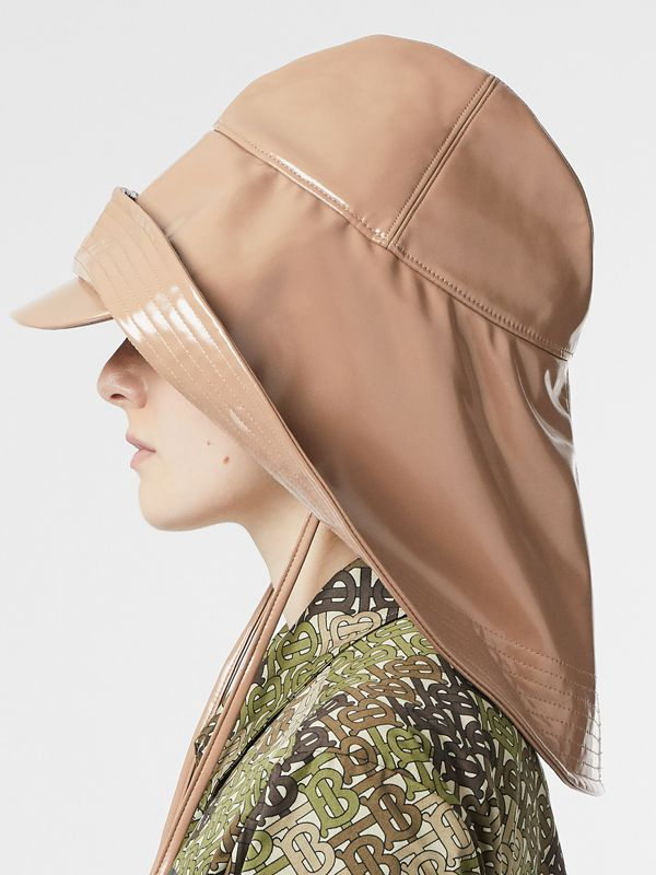 Rubberised Rain Hat in Toffee | Burberry - cell image 2