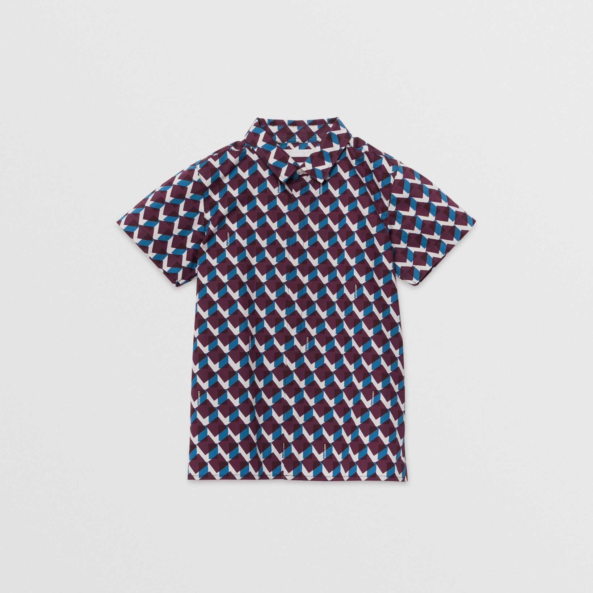 Short-sleeve Geometric Print Cotton Shirt in Mineral Blue | Burberry United States - gallery image 0
