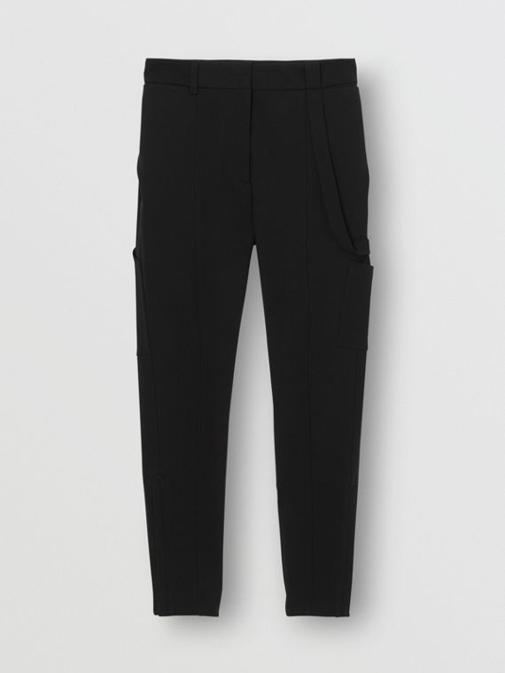 Pantalon en jersey de crêpe stretch avec sangle (Noir)