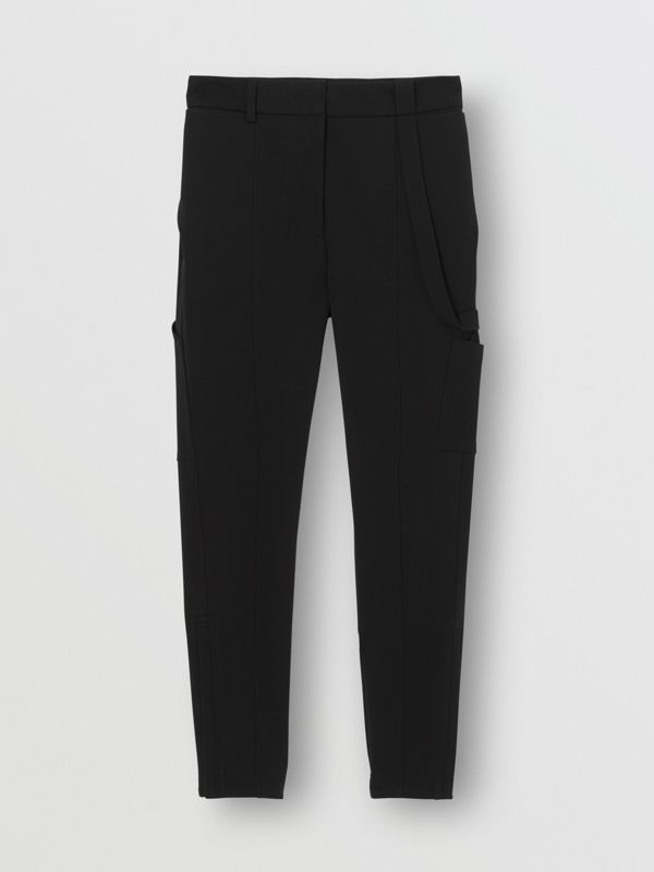 Strap Detail Stretch Crepe Jersey Trousers in Black - Women | Burberry Singapore - cell image 3