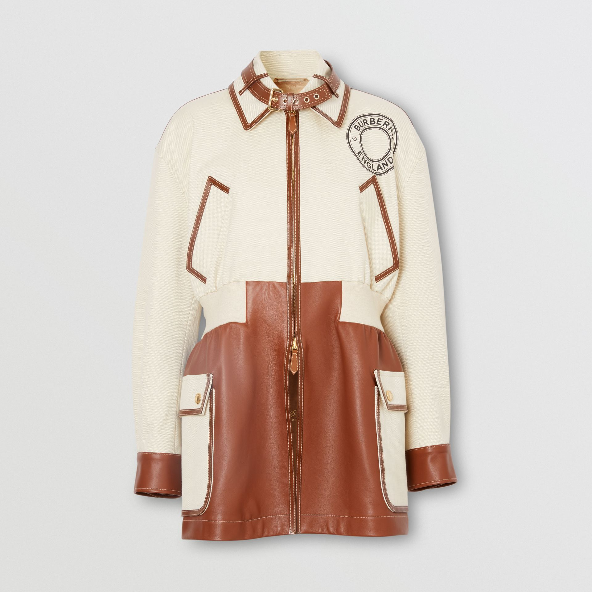 Logo Graphic Cotton and Lambskin Riding Jacket in Vanilla - Women | Burberry United Kingdom - gallery image 3