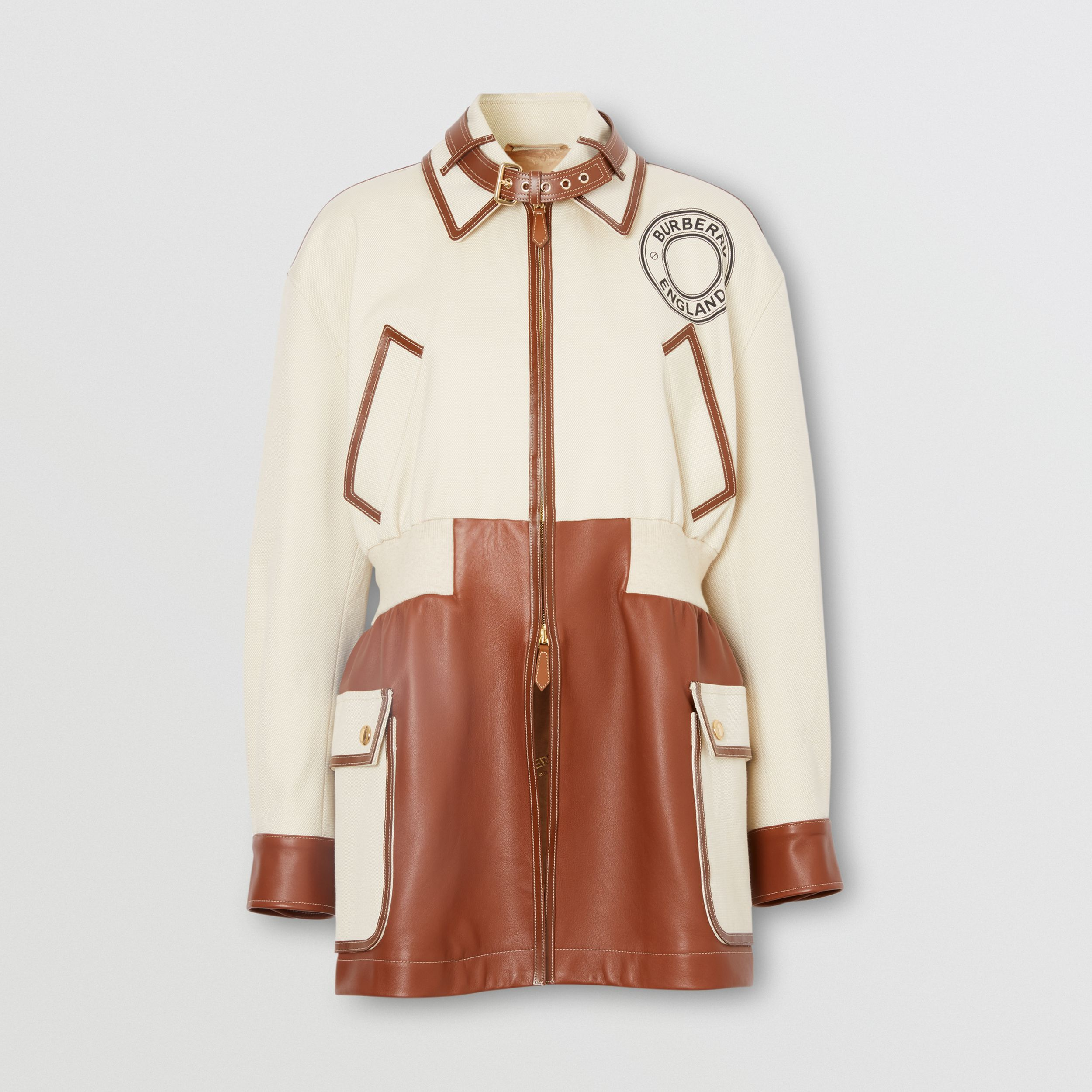 Logo Graphic Cotton and Lambskin Riding Jacket in Vanilla - Women | Burberry - 4