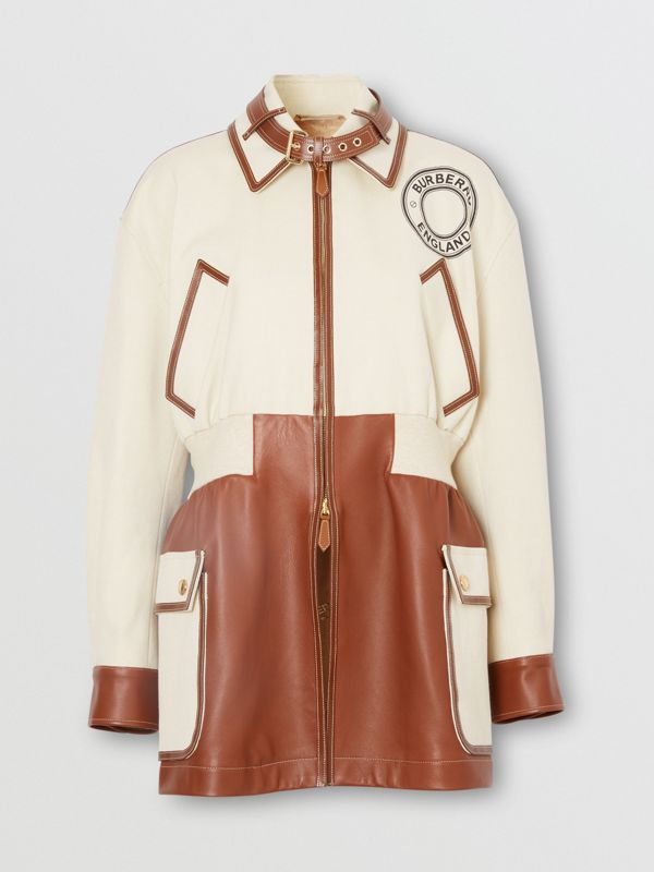 Logo Graphic Cotton and Lambskin Riding Jacket in Vanilla - Women | Burberry United Kingdom - cell image 3