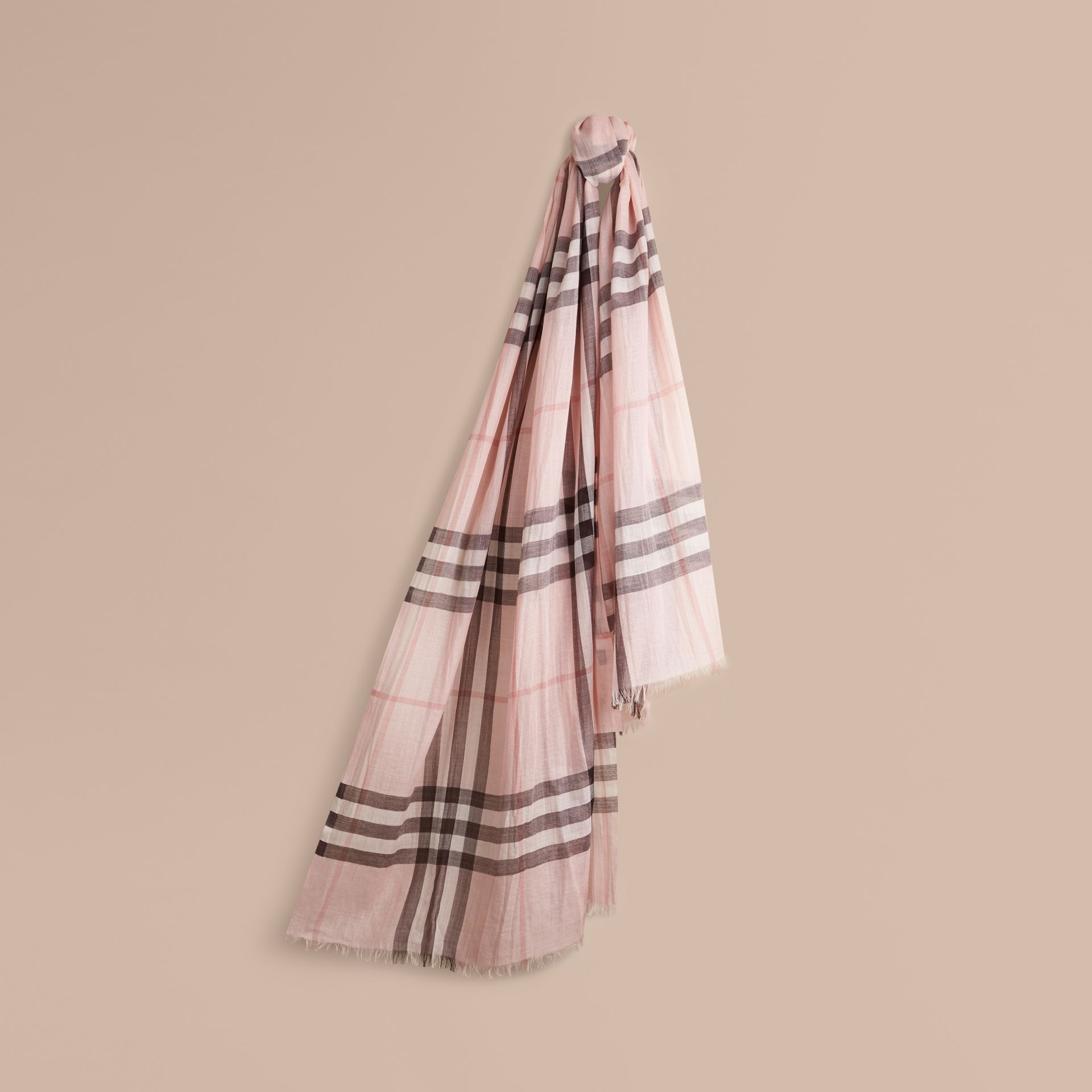 Lightweight Check Wool and Silk Scarf in Ash Rose - gallery image 1