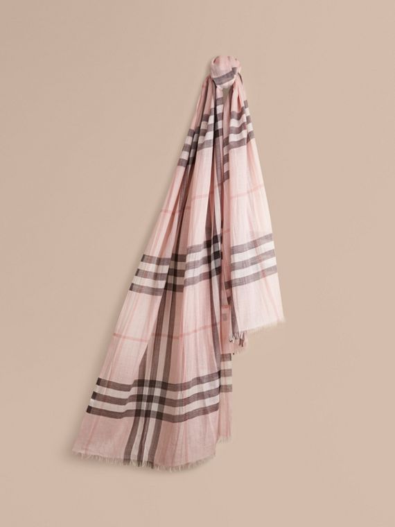 Lightweight Check Wool and Silk Scarf Ash Rose