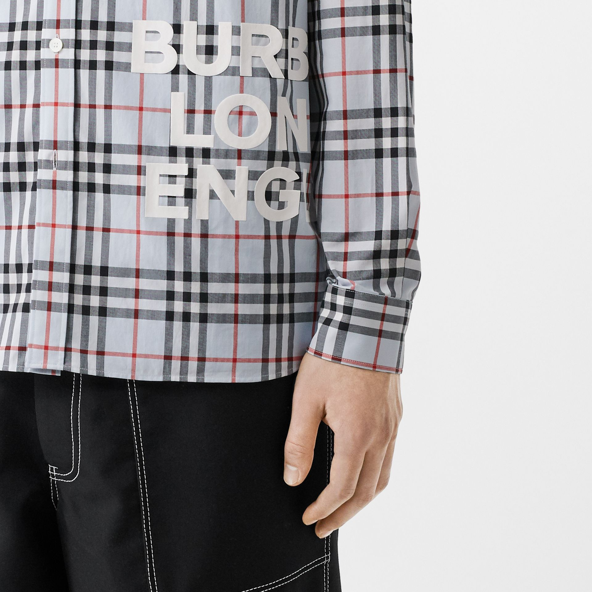 Logo Print Check Cotton Oversized Shirt in Pale Blue - Men | Burberry - gallery image 1
