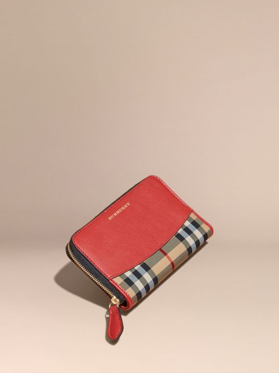 Horseferry Check and Leather Ziparound Wallet Parade Red