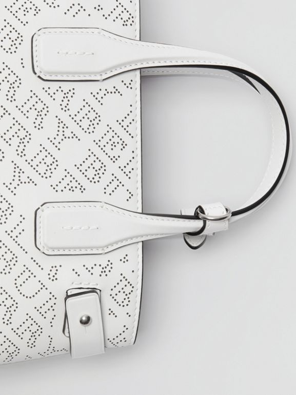 The Small Banner in Perforated Logo Leather in Chalk White - Women | Burberry - cell image 1