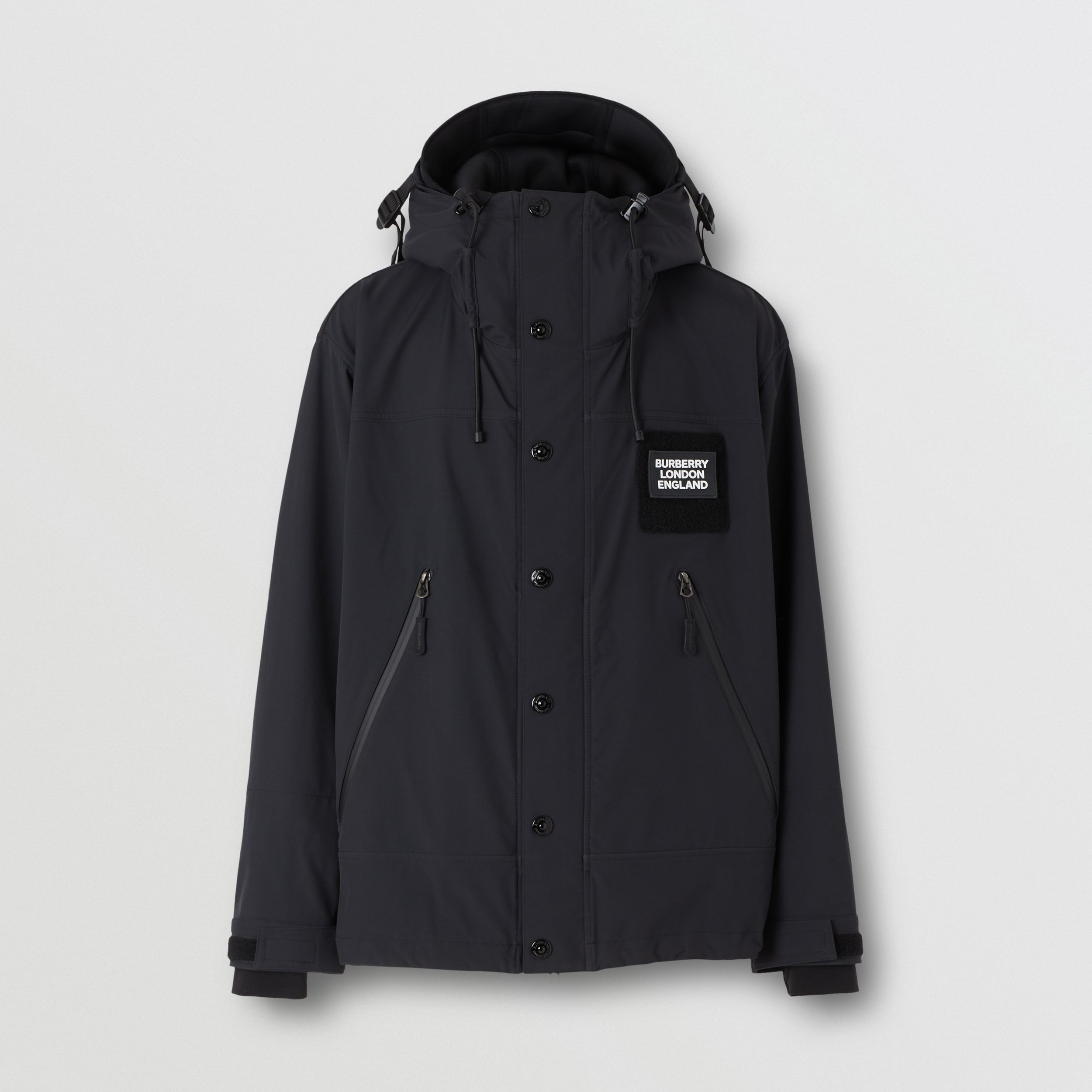 Logo Appliqué Technical Twill Hooded Jacket in Black - Men | Burberry - 4