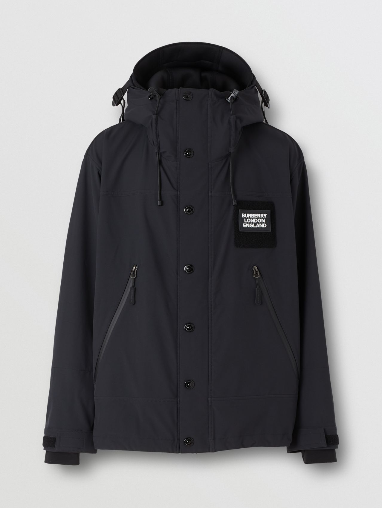 Logo Appliqué Technical Twill Hooded Jacket in Black