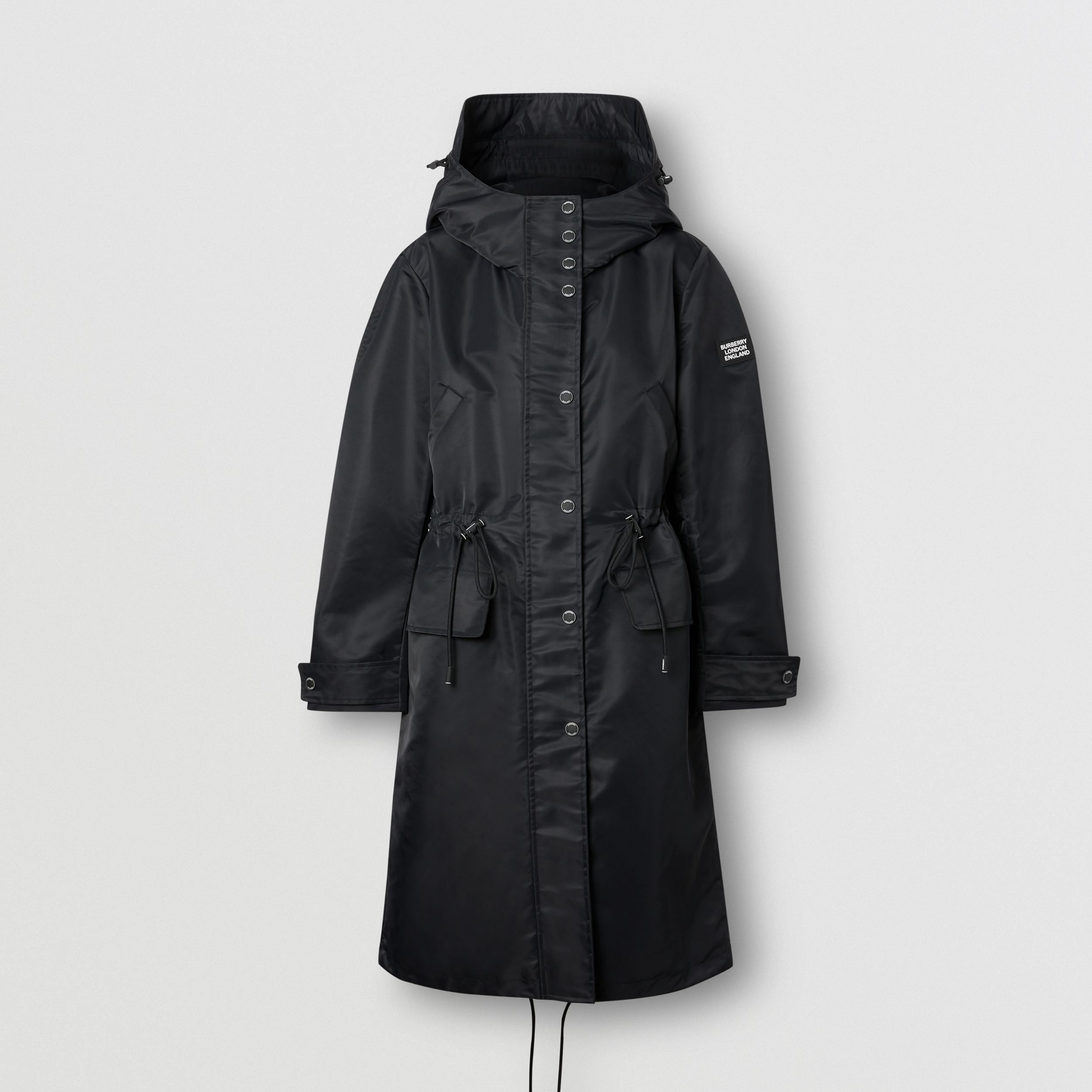 Horseferry Print Recycled Nylon Parka in Black - Women | Burberry - 4