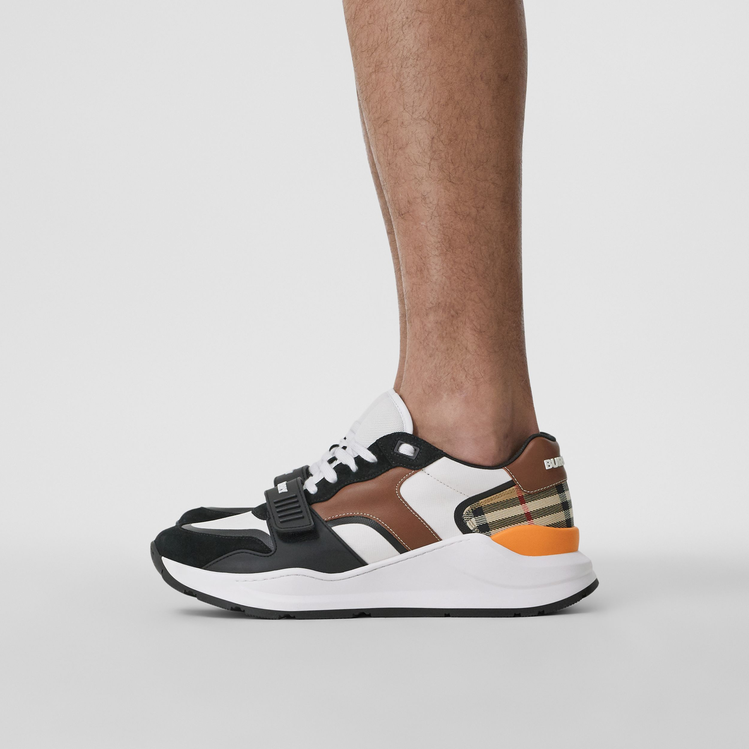 Leather, Suede and Vintage Check Sneakers in Black/archive Beige - Men | Burberry - 3
