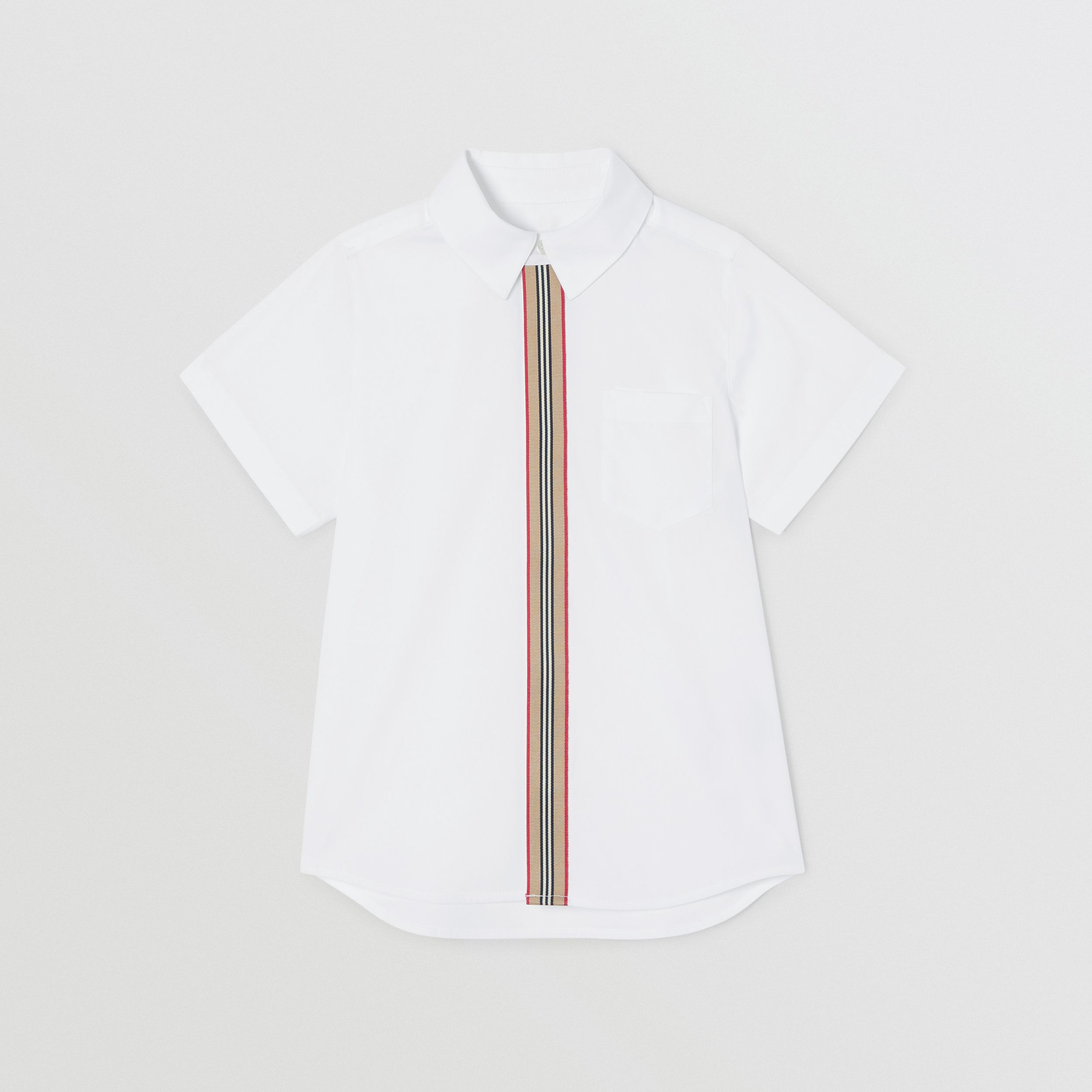 Short-sleeve Icon Stripe Trim Stretch Cotton Shirt in White | Burberry - 1
