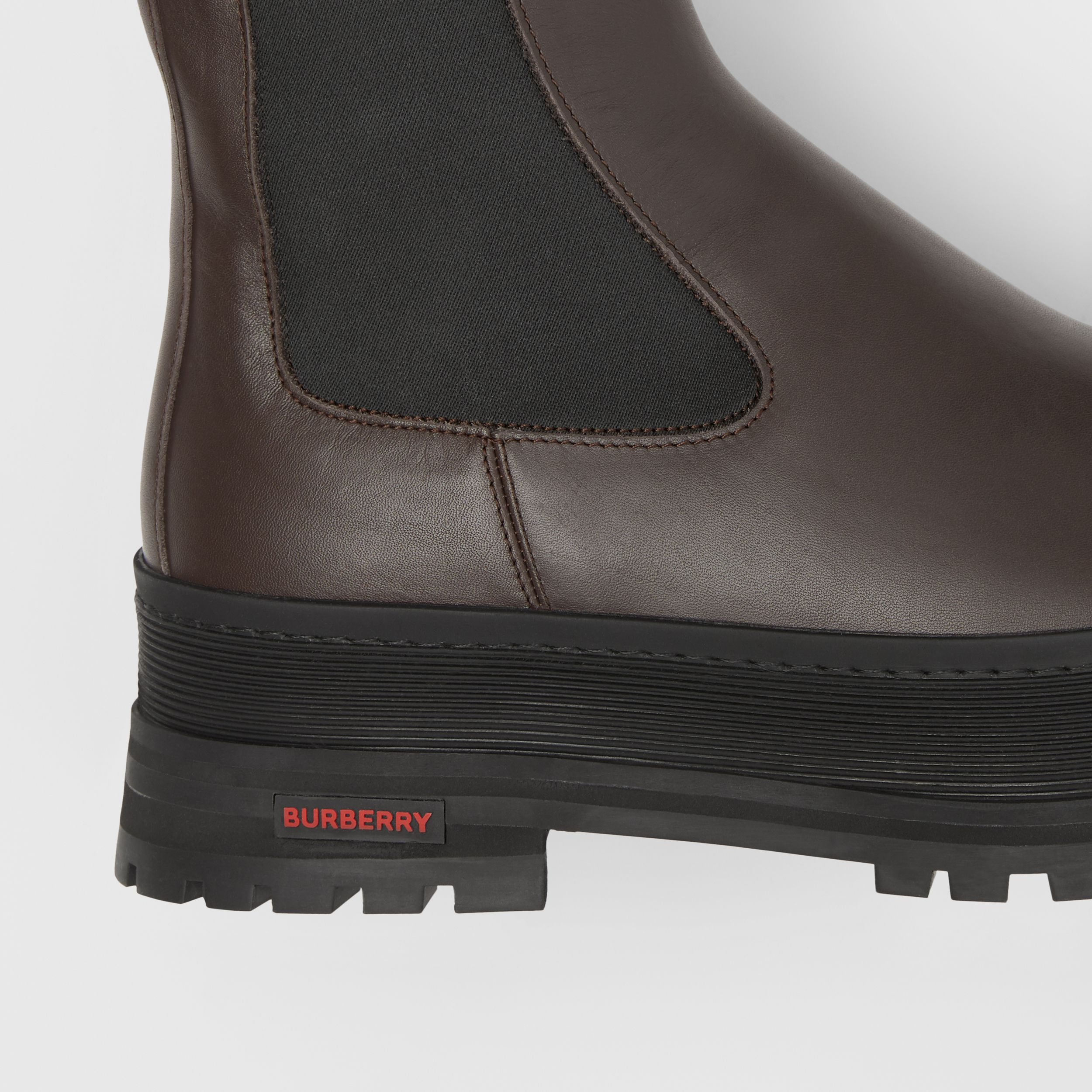 Logo Detail Leather Chelsea Boots in Dark Chocolate - Men | Burberry Singapore - 2