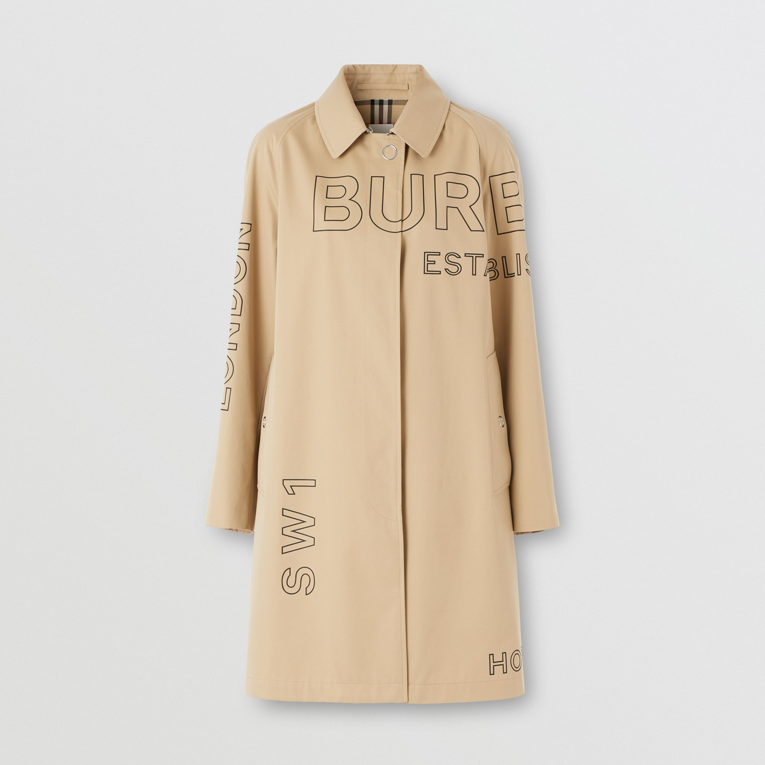 Horseferry Print Cotton Gabardine Car Coat in Honey - Women | Burberry - 4
