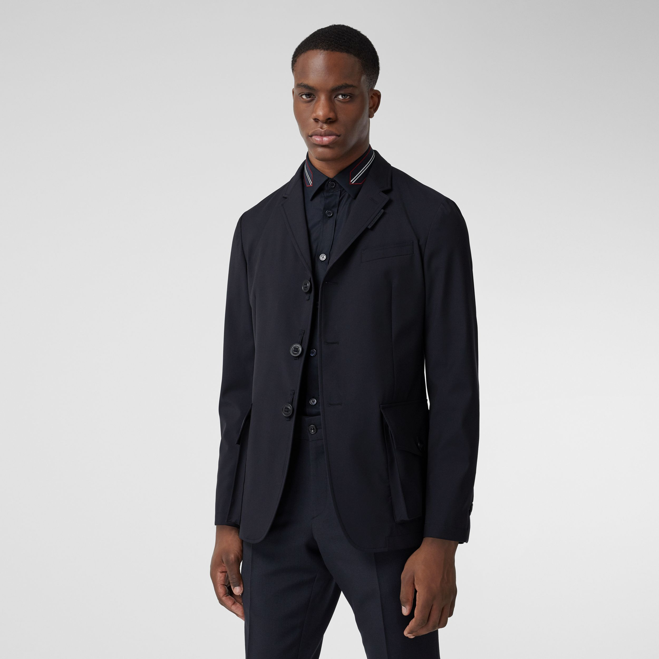 Bonded Wool Tailored Jacket in Navy - Men | Burberry Hong Kong S.A.R. - 1