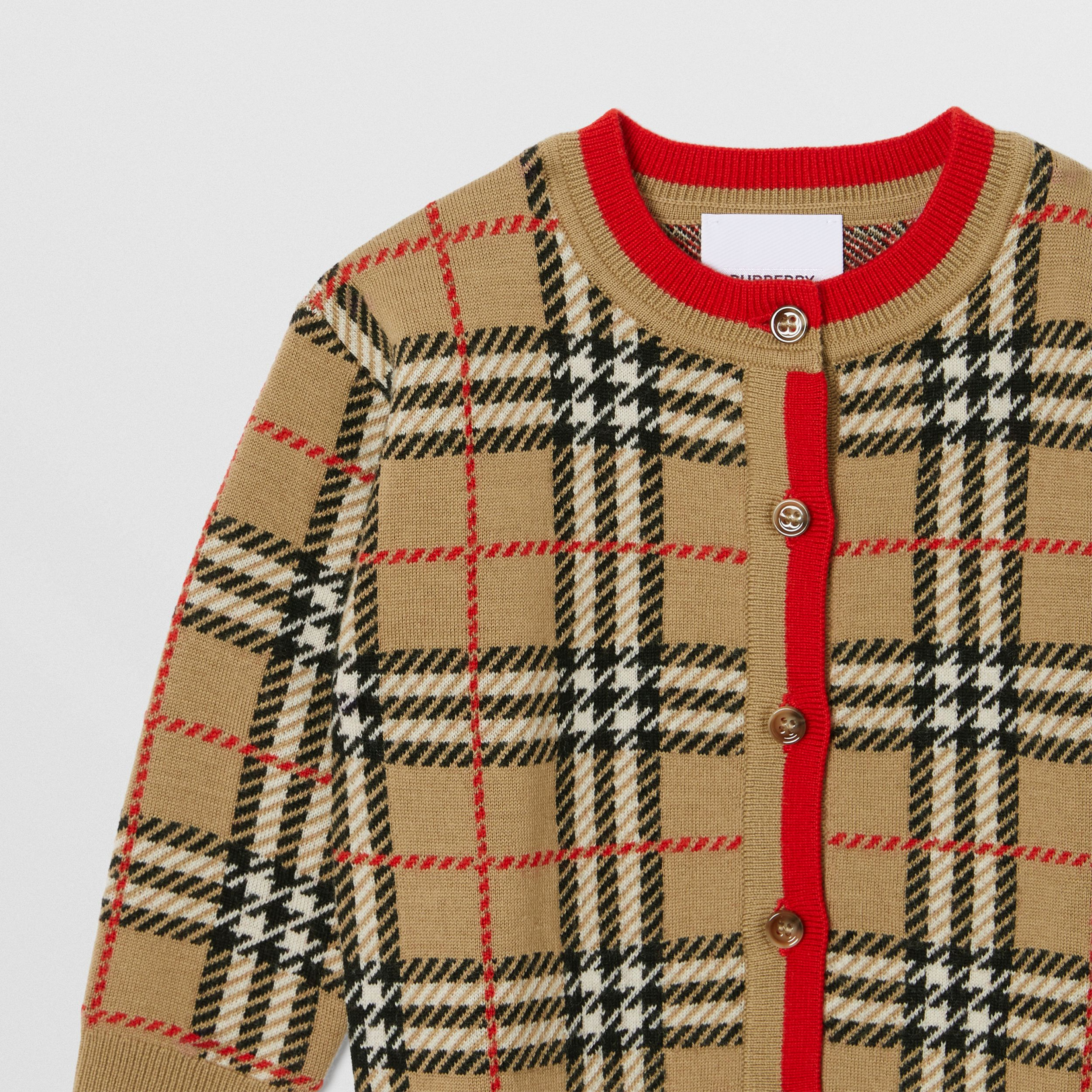Check Merino Wool Jacquard Cardigan - Children | Burberry - 3