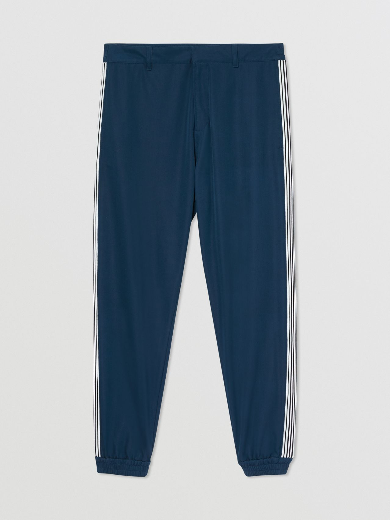 Stripe Detail Technical Wool Jogging Pants in Ink Blue