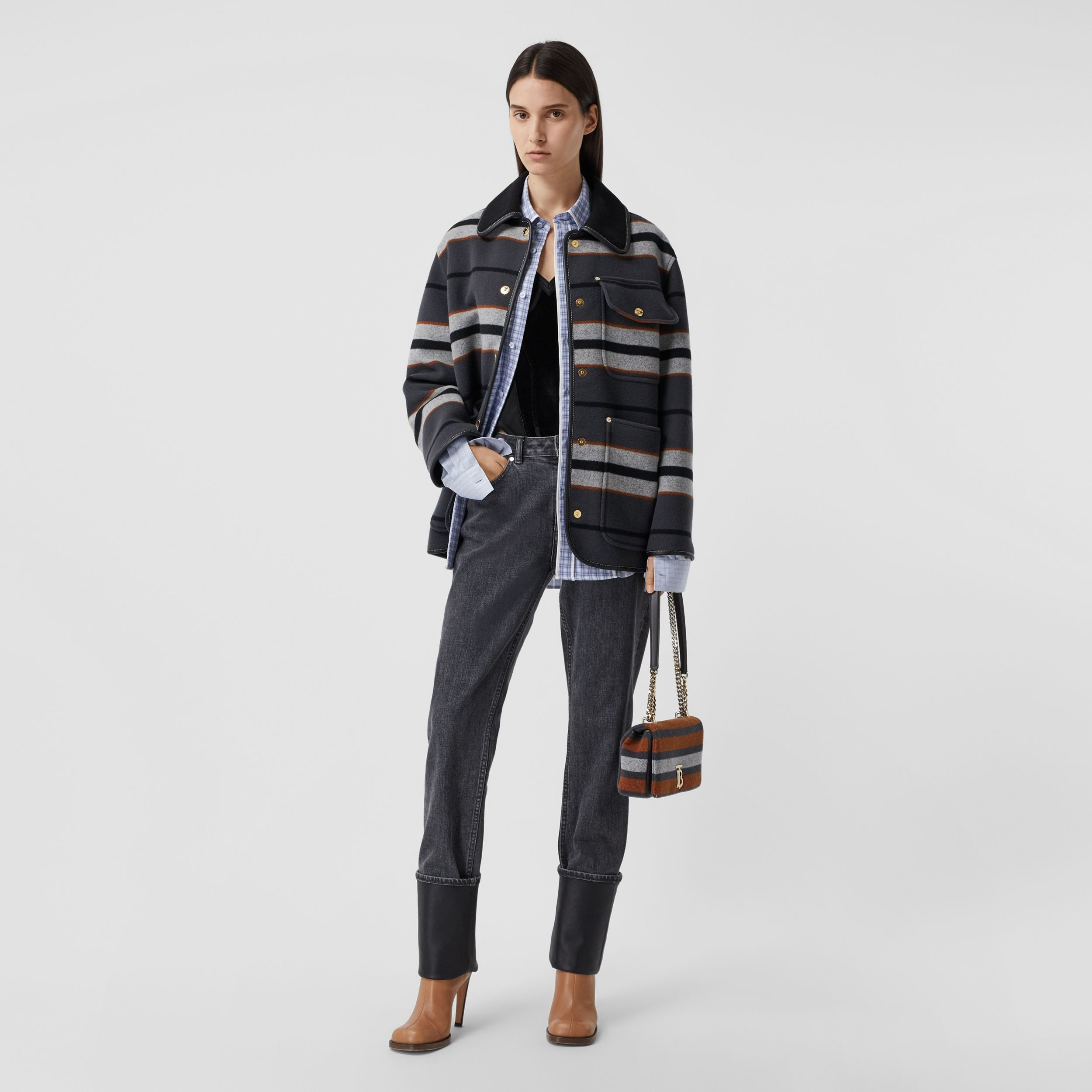 Lambskin Trim Stripe Intarsia Wool Barn Jacket in Mid Grey - Women | Burberry Hong Kong S.A.R. - 1