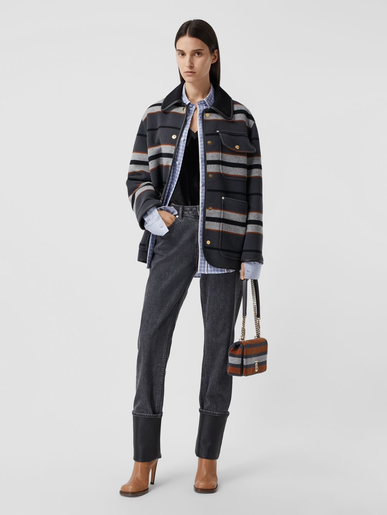 Lambskin Trim Stripe Intarsia Wool Barn Jacket in Mid Grey