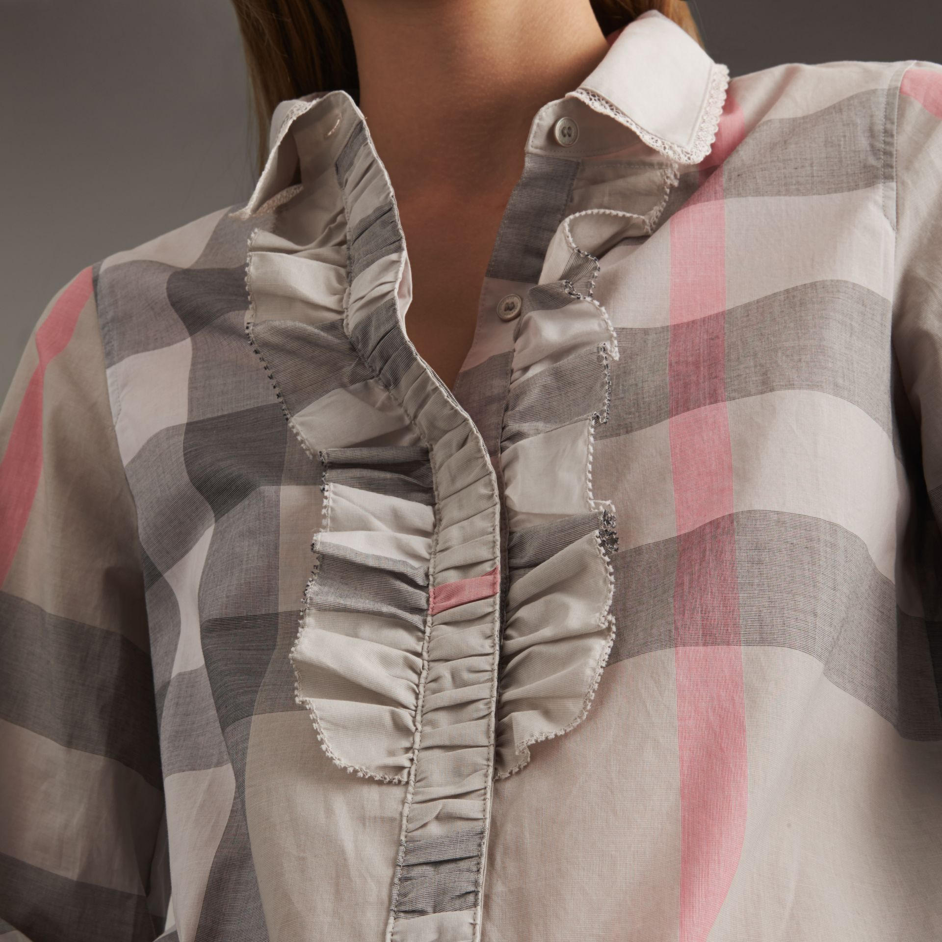Ruffle Detail and Lace Trim Check Cotton Shirt in Pale Taupe - Women | Burberry - gallery image 6