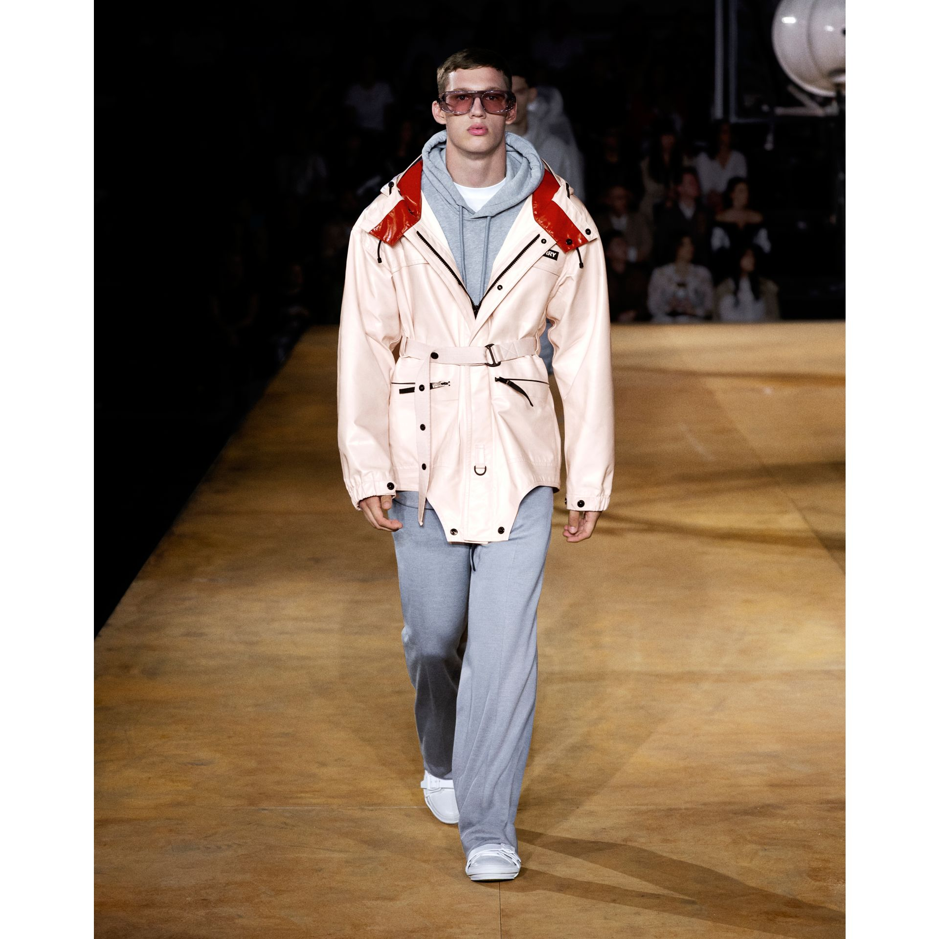 Cut-out Hem Two-tone Coated Nylon Parka in Pale Pink - Men | Burberry Australia - gallery image 6