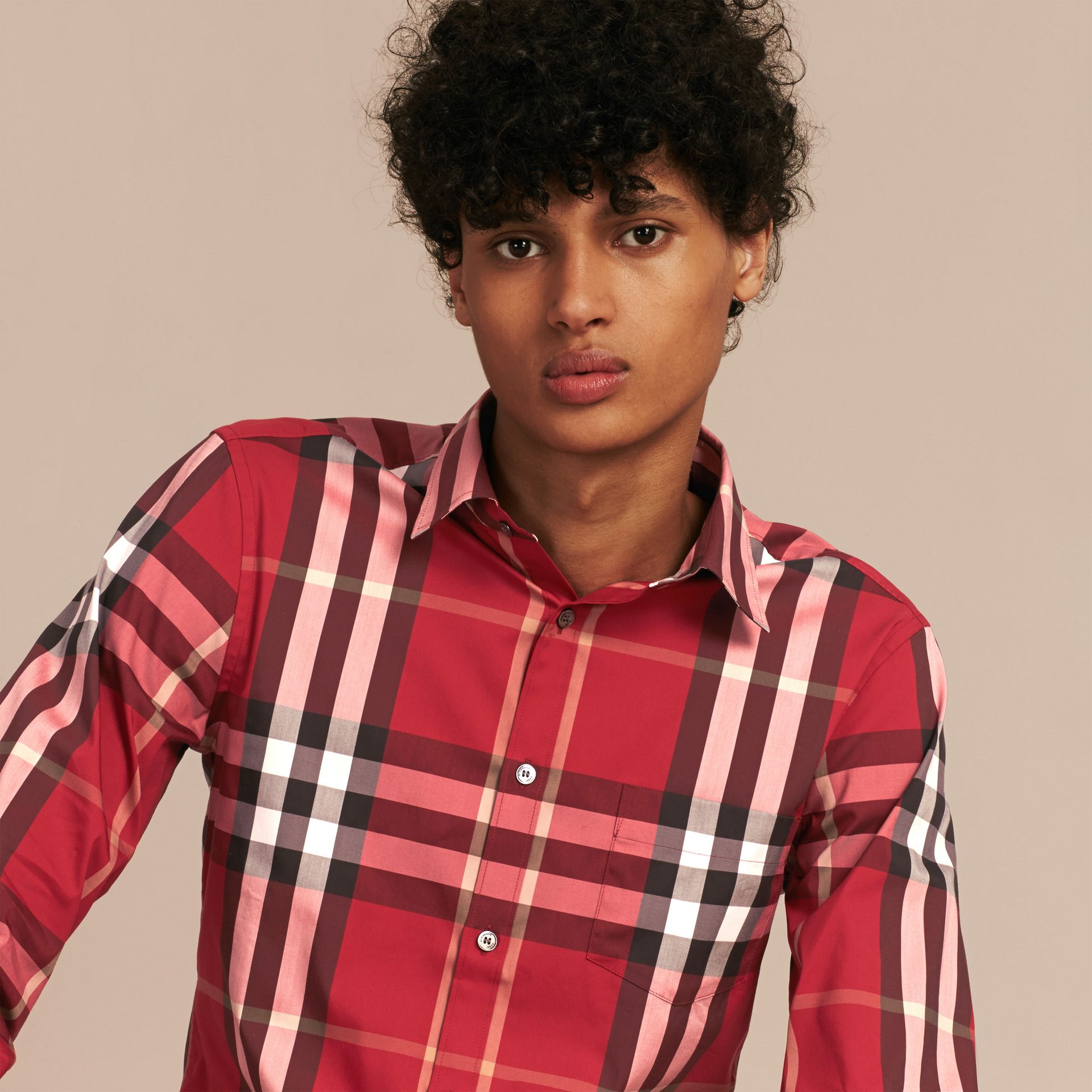 Check Stretch Cotton Shirt in Parade Red - gallery image 6