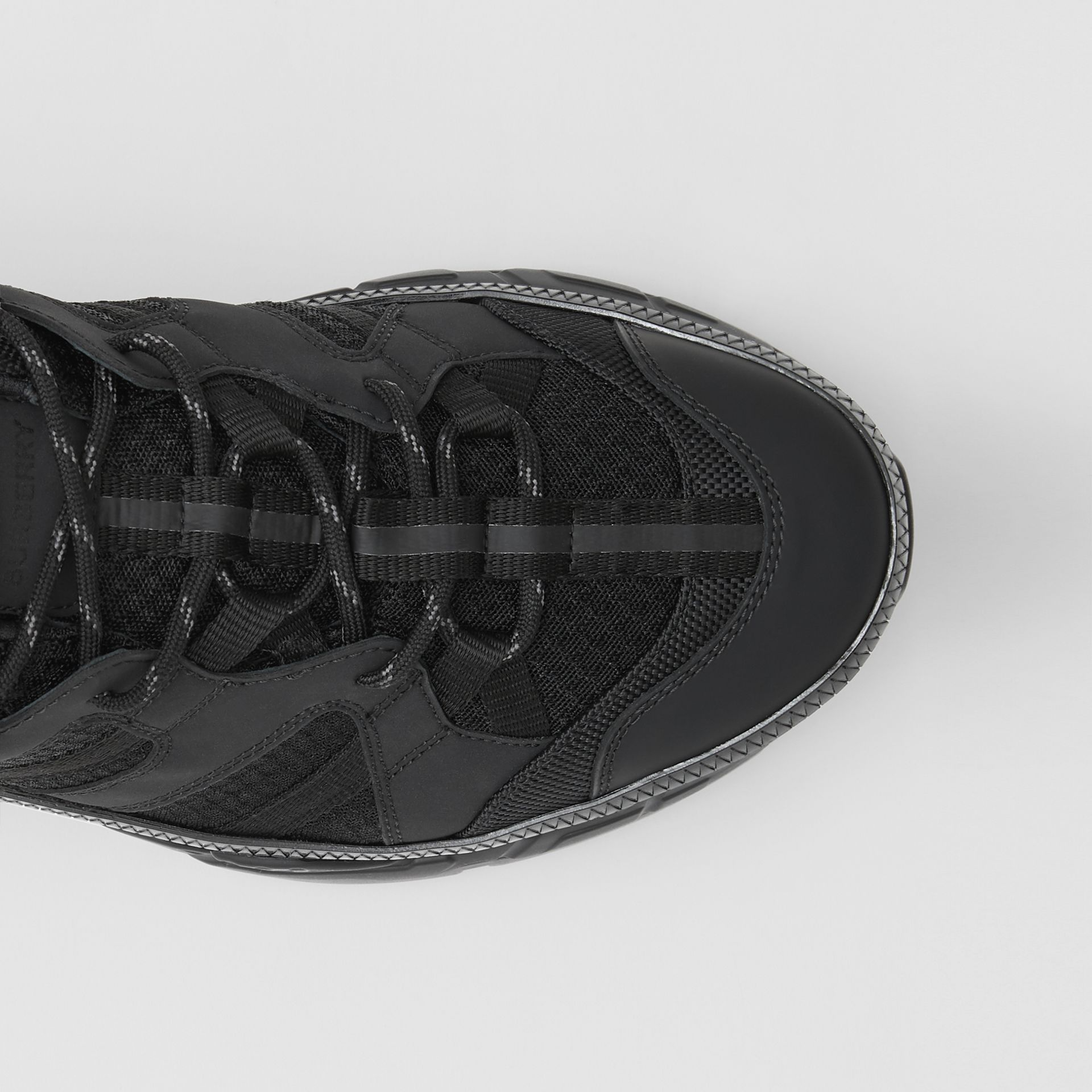 Monogram Motif Mesh and Nubuck Sneakers in Black - Men | Burberry - gallery image 1