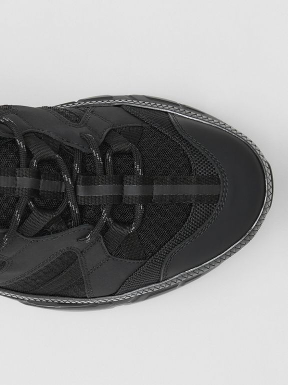 Mesh and Nubuck Union Sneakers in Black - Men | Burberry Hong Kong - cell image 1